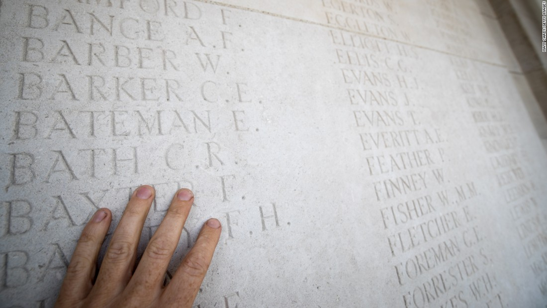 The names of the fallen are carved into stone in the Pozieres British Cemetery near Albert, France.