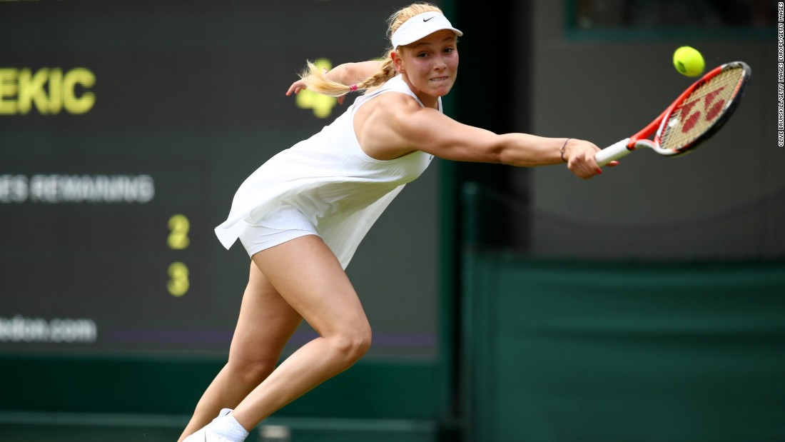 Croatia's Donna Vekic sports the controversial Nike dress, which has been criticized for being too revealing.