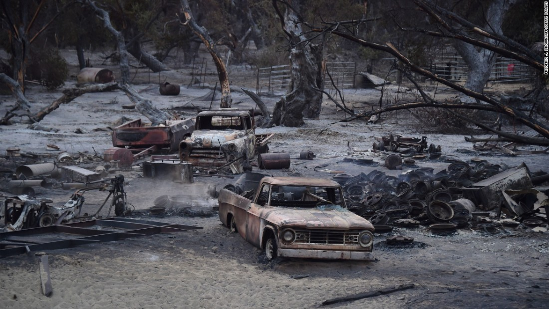 "The Kelso Creek subdivision, seen here, was destroyed by the Erskine Fire, <a href=""http://www.cnn.com/2016/06/24/us/california-erskine-fire/"" target=""_blank"">a fast-moving wildfire</a> that has scorched more than 35,000 acres in Southern California, officials said on Saturday, June 25."