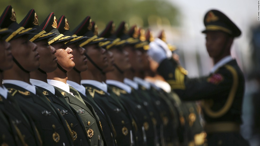 Chinese honor guards prepare to welcome Russian President Vladimir Putin for a state visit in Beijing on Saturday, June 25.