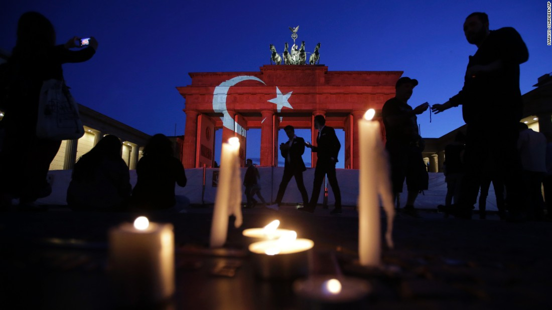 "Berlin's Brandenburg Gate is illuminated with the Turkish national flag on Wednesday, June 29 -- a day after <a href=""http://www.cnn.com/2016/06/28/europe/gallery/istanbul-airport-attacked/index.html"" target=""_blank"">a terrorist attack</a> at an Istanbul airport."