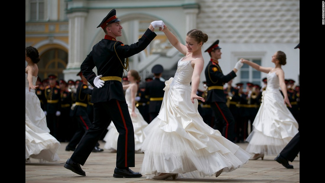 Russian cadets dance the waltz during a graduation ceremony in Moscow on Saturday, June 25.