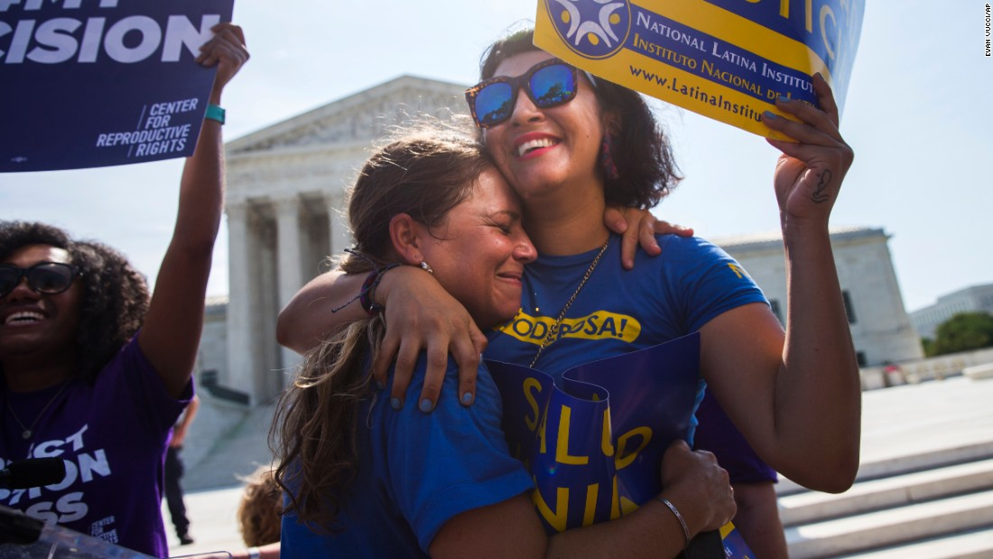 "Bethany Van Kampen hugs Alejandra Pablus, right, as they celebrate the U.S. Supreme Court's decision <a href=""http://www.cnn.com/2016/06/27/politics/supreme-court-abortion-texas/index.html"" target=""_blank"">to strike down a Texas abortion law</a> on Monday, June 27. The law required doctors who perform abortions to have admitting privileges at a nearby hospital. It also mandated that clinics upgrade their facilities to hospital-like standards. Supporters of the law argued that it was meant to protect women's health, but opponents said it was instead a disguised attempt to end abortion and that women would find it harder to end a pregnancy legally. <a href=""http://www.cnn.com/2016/06/01/politics/gallery/scotus-2016/index.html"" target=""_blank"">See other Supreme Court rulings from this year</a>"