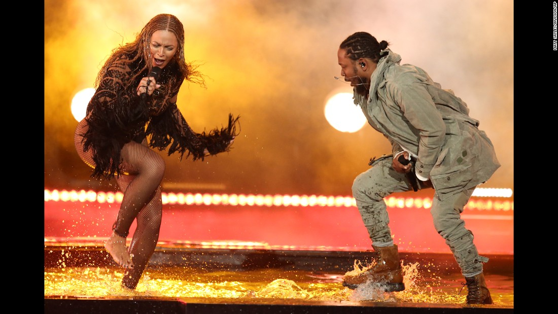 "Beyonce and Kendrick Lamar perform ""Freedom"" at <a href=""http://www.cnn.com/2016/06/27/entertainment/bet-awards-2016-beyonce-jesse-williams/"" target=""_blank"">the BET Awards</a> on Sunday, June 26."