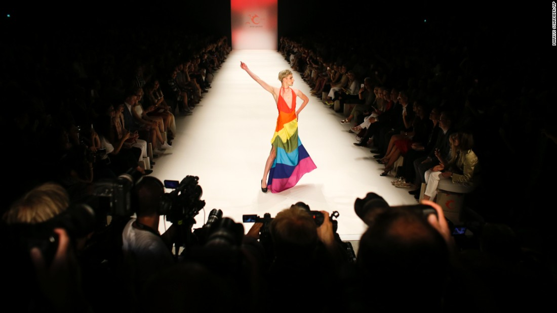 "A male model displays a rainbow-colored outfit, designed by Anja Gockel, during Berlin's Fashion Week on Wednesday, June 29. <a href=""http://www.cnn.com/2016/06/24/world/gallery/week-in-photos-0624/index.html"" target=""_blank"">See last week in 32 photos</a>"