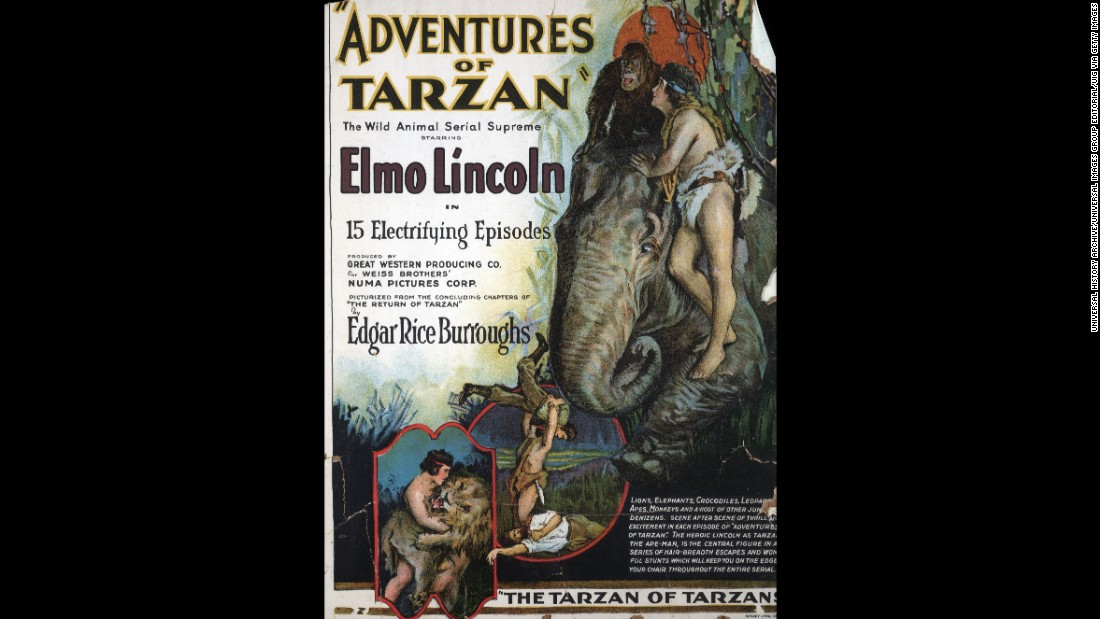"The fourth screen version of Tarzan was a 15-part movie silent serial, ""Adventures of Tarzan"", starring Elmo Lincoln, a little less naked in an animal skin. Stranded in Africa after his English parents die, young Tarzan is raised by an ape, battles animals and a volcano, and rescues Jane from Arab slave traders. A window card for the 1921 serial shows scenes."