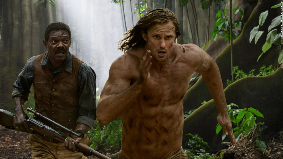 "2016's take on Tarzan, ""The Legend of Tarzan"", features Alexander Skarsgård (shown here with Samuel L. Jackson) as the white hero, but avoids many of the earlier Tarzan mistakes, writes Beale. Native characters, most of them played by  African actors, such as Benin native Djimon Honsou, have speaking roles, and the film gives a sophisticated view of African society."