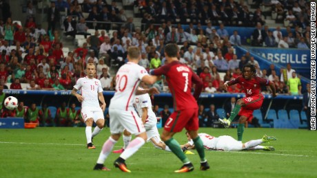 Renato Sanches equalised for Portugal with a fine strike.