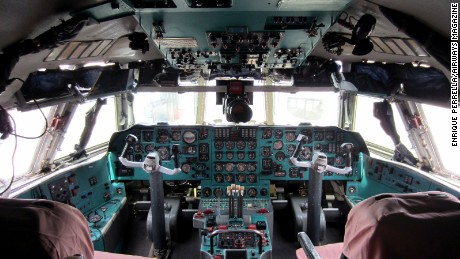 The mighty Ilyushin Il-76 cargo plane's cockpit