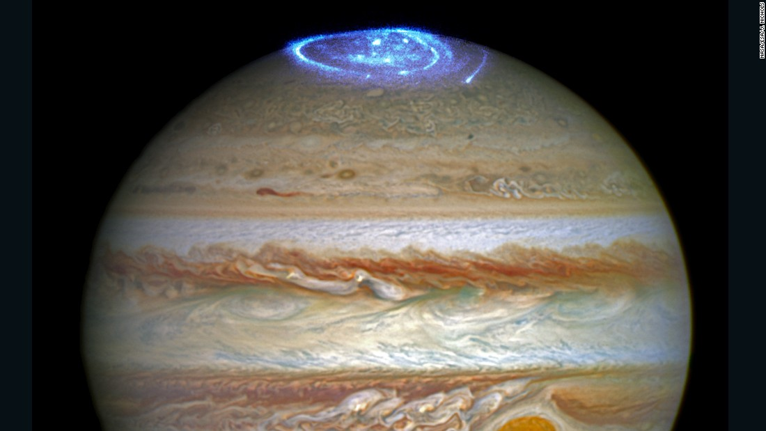NASA's Hubble Space Telescope captured images of Jupiter's auroras on the poles of the gas giant. The observations were supported by measurements taken by Juno.