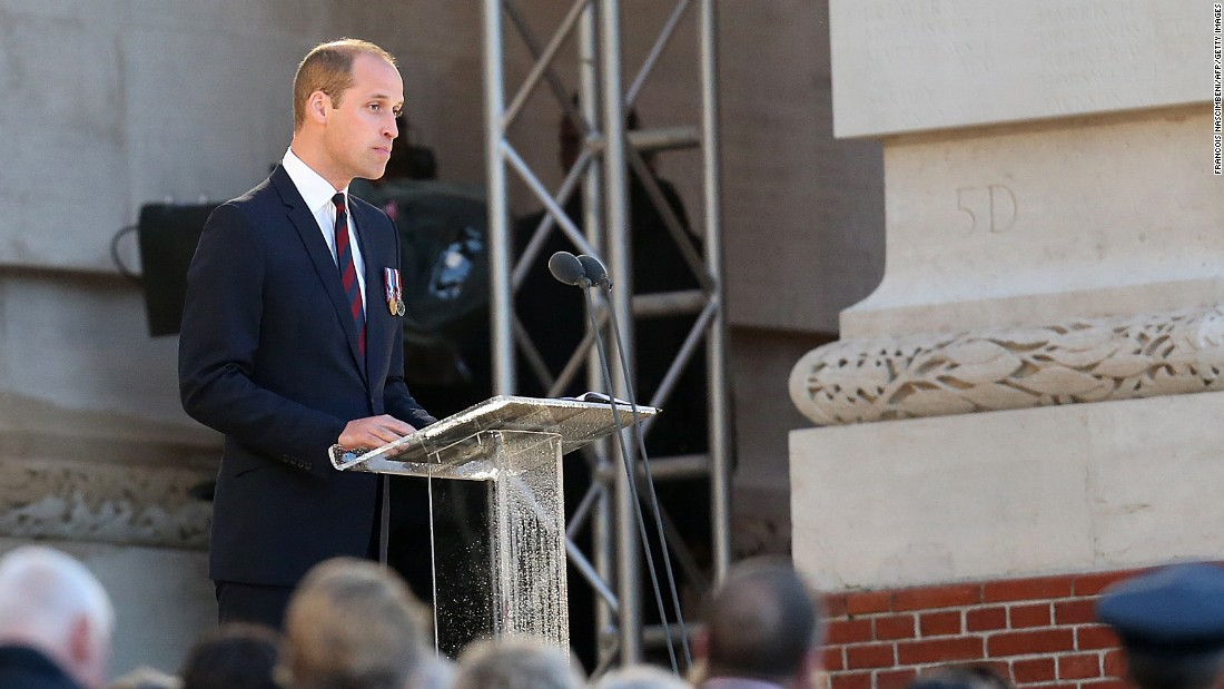 "Britain's Prince William delivers a speech during a commemoration ceremony at the Thiepval Memorial. The battle was the deadliest in British history, in which 20,000 men died on the first day of combat alone. In a foreword for the Somme Centenary Commemorative Service program, he wrote: ""It is truly terrifying to imagine the destruction wrought across this landscape 100 years ago today. However, we now return to the battlefield in a spirit of reconciliation and respect."""