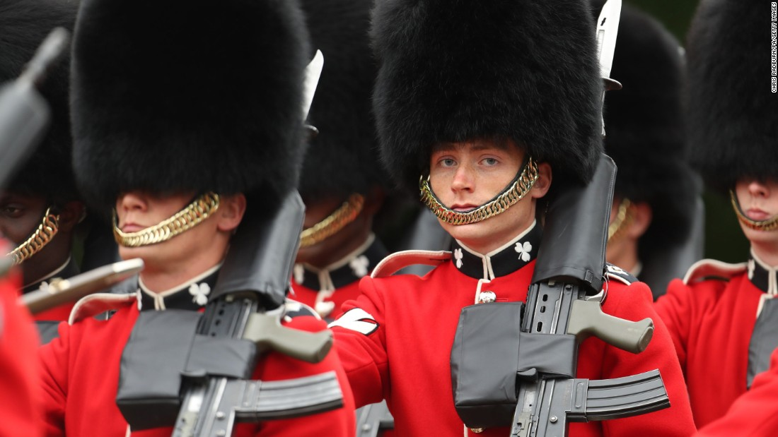 Members of the Irish Guards are seen during the Battle of the Somme centenary commemoration service in Thiepval.