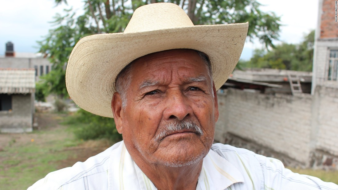 Reyes Mendoza Frias, 86, was one of the first from Francisco Villa to work in the U.S. legally through a migrant worker program. Now his migrant children send him American cash.