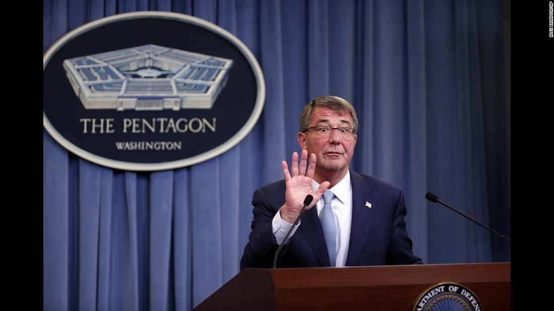 "U.S. Defense Secretary Ash Carter reacts to a reporter's attempt at one last question as he departs a news conference at the Pentagon on Thursday, June 30. Carter had just announced new rules <a href=""http://www.cnn.com/2016/06/30/politics/transgender-ban-lifted-us-military/"" target=""_blank"">allowing transgender individuals to serve openly</a> in the U.S. military."