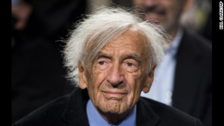 UNITED STATES - MARCH 2: Nobel Peace laureate Elie Wiesel waits to participate in a forum with Sen. Ted Cruz on guarding against a nuclear Iran on Monday, March 2, 2015, in the Dirksen Senate Office Building. (Photo By Bill Clark/CQ Roll Call) (CQ Roll Call via AP Images)