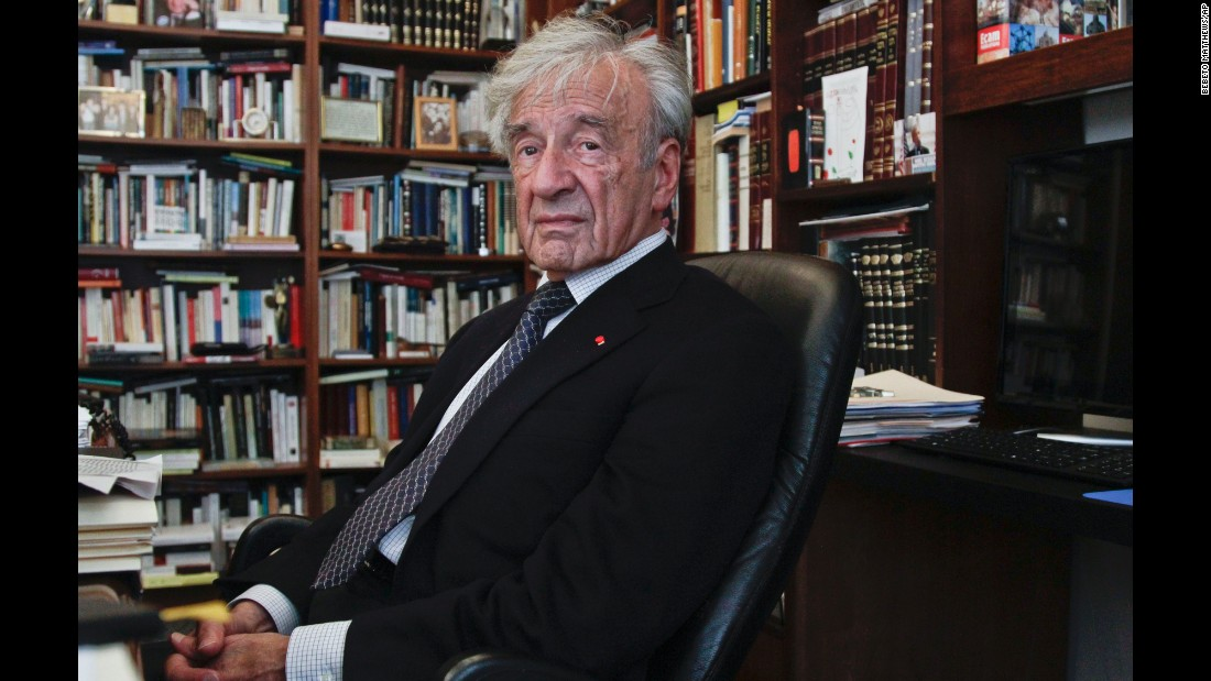 This September 12, 2012, photo shows Holocaust survivor and Nobel Peace Prize laureate Elie Wiesel in his New York office. Wiesel, 87, died Saturday, July 2, 2016.