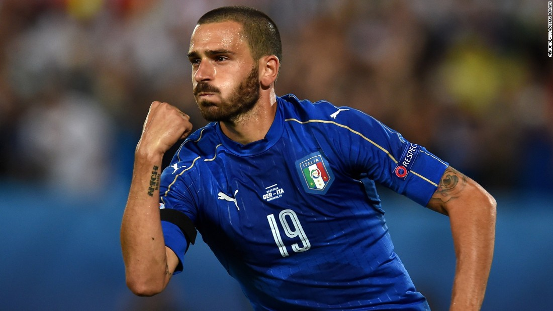 Leonardo Bonucci celebrates scoring Italy's first goal of the match.