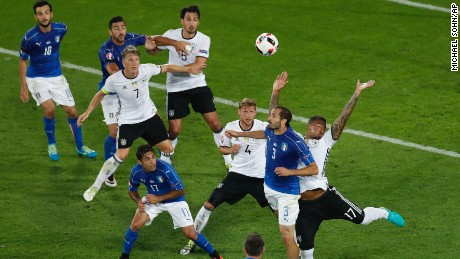 Jerome Boateng was penalized for a handball inside the Germany penalty area.