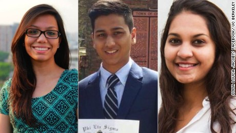 Three of the Bangladesh terror victims. From left, Abinta Kabir, Faraaz Hossein and Tarishi Jain