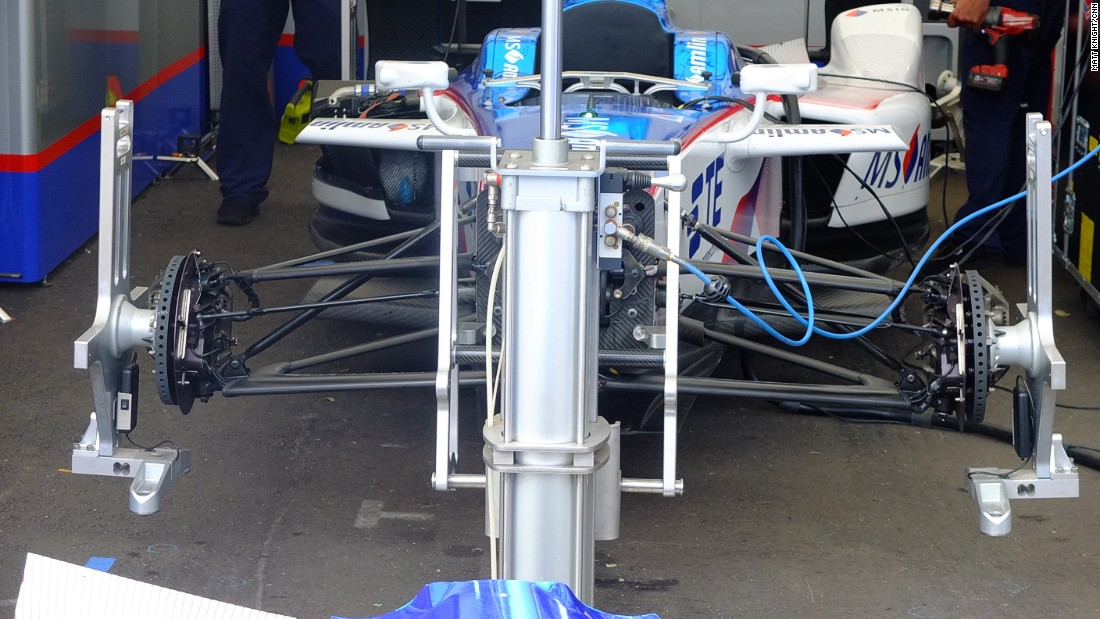 A stripped down Formula E car being prepared for Sunday's race.