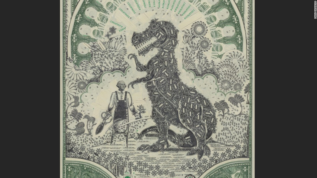 "Brooklyn-based artist <a href=""http://markwagnerinc.com"" target=""_blank"">Mark Wagner</a> makes collages out of currency, meticulously handcrafting U.S. dollar bills into presidents, landmarks and fantastical scenery."