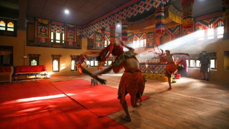 The interior of the Bhutan Happiness Centre in Bumthang, Bhutan, designed by 1+1>2 Architects and nominated in the Civic and Community award at the 2016 World Architecture Festival.