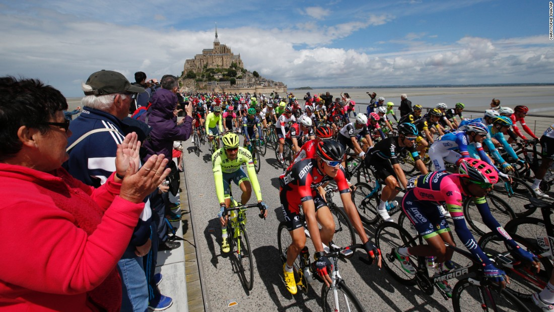 Cyclists begin the first stage of the Tour de France on Saturday, July 2. The starting point was Mont Saint-Michel, an island in Normandy, France.