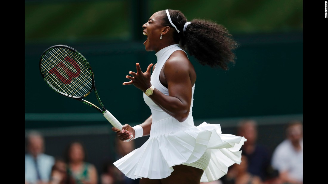 Serena Williams celebrates a point during her first-round Wimbledon win over Amara Safikovic on Tuesday, June 28. Williams, the world's No. 1 tennis player, is seeking her 22nd Grand Slam title.