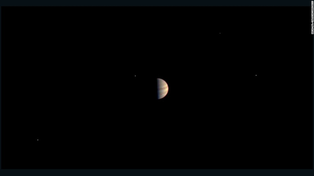 This was the final view of Jupiter taken by Juno before the on-board instruments were powered down to prepare for orbit. The image was taken June 29, 2016, while the spacecraft was 3.3 million miles (5.3 million kilometers) from Jupiter.