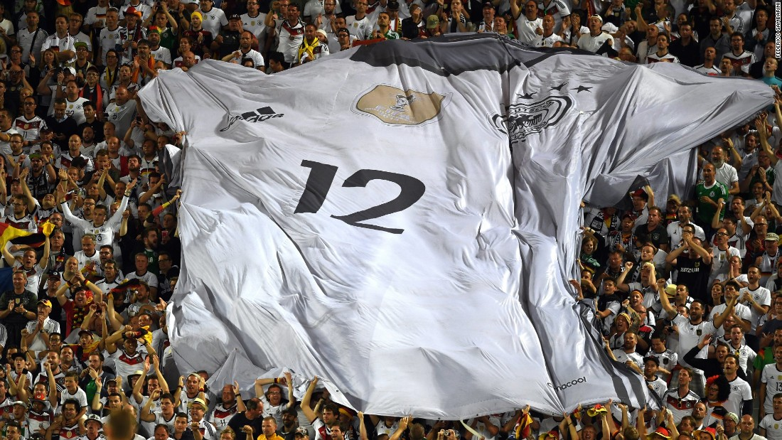 Germany fans display a giant jersey in the stands during a Euro 2016 quarterfinal match in Bordeaux, France, on Saturday, July 2.