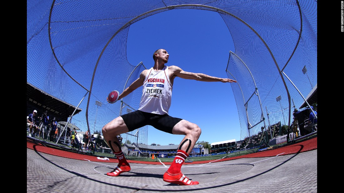 Decathlete Zach Ziemek throws the discus during the U.S. Olympic trials on Sunday, July 3. Ziemek made the Olympic team after finishing in third place overall.