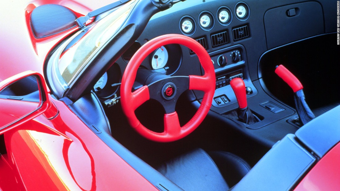 The cabin of a first-gen Viper shows how car manufacturers weren't afraid to use splashes of bright color in the nineties.