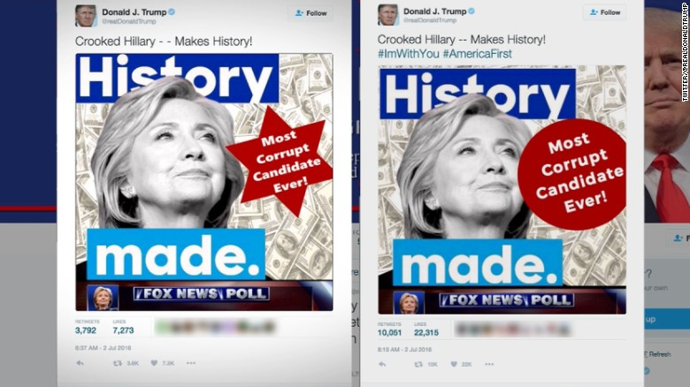 Trump takes heat for Clinton six-point star tweet