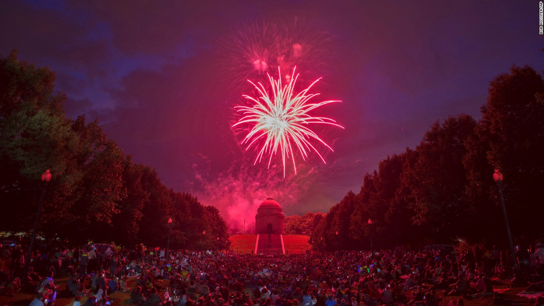 Fireworks are set off in Canton, Ohio, on Sunday, July 3.