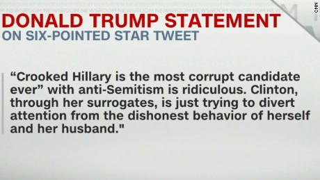 Donald Trump statement on six-pointed star