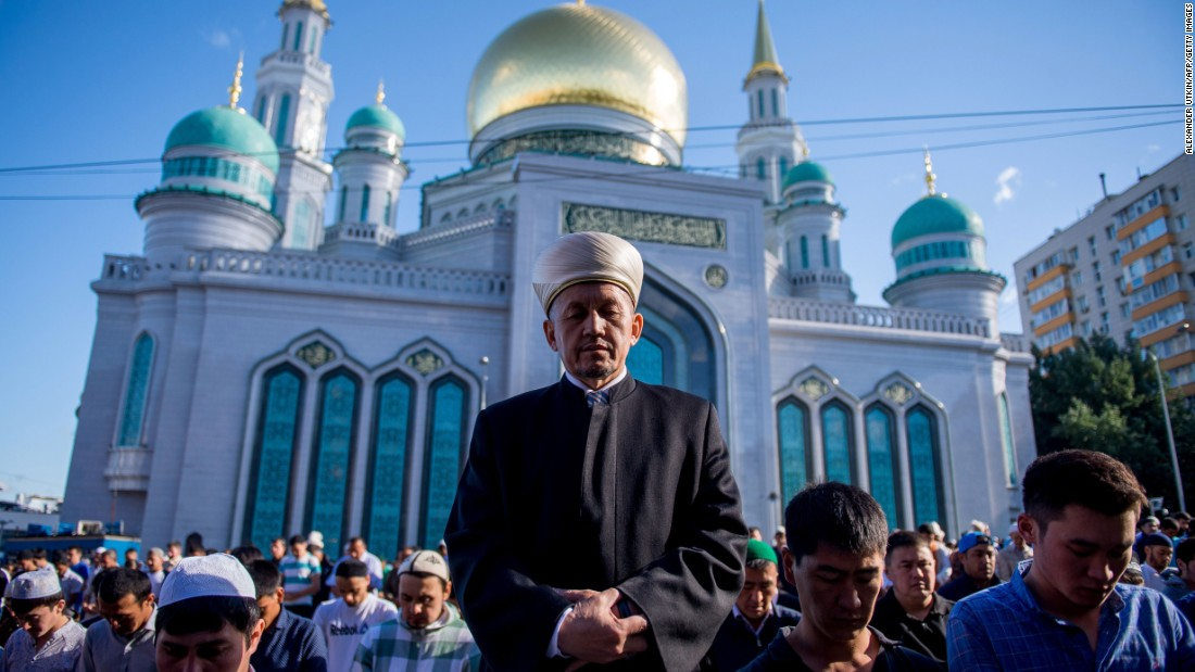 Muslims pray outside the central mosque in Moscow to celebrate the end of Ramadan on Tuesday, July 5. Eid al-Fitr is a three-day festival that marks the end of the Muslim holy month.