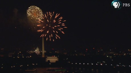 If you watched the fireworks show on PBS Monday night, this is what you saw -- a clearer view than what people saw in person.