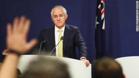 Prime Minister Malcolm Turnbull speaking to the media on July 3