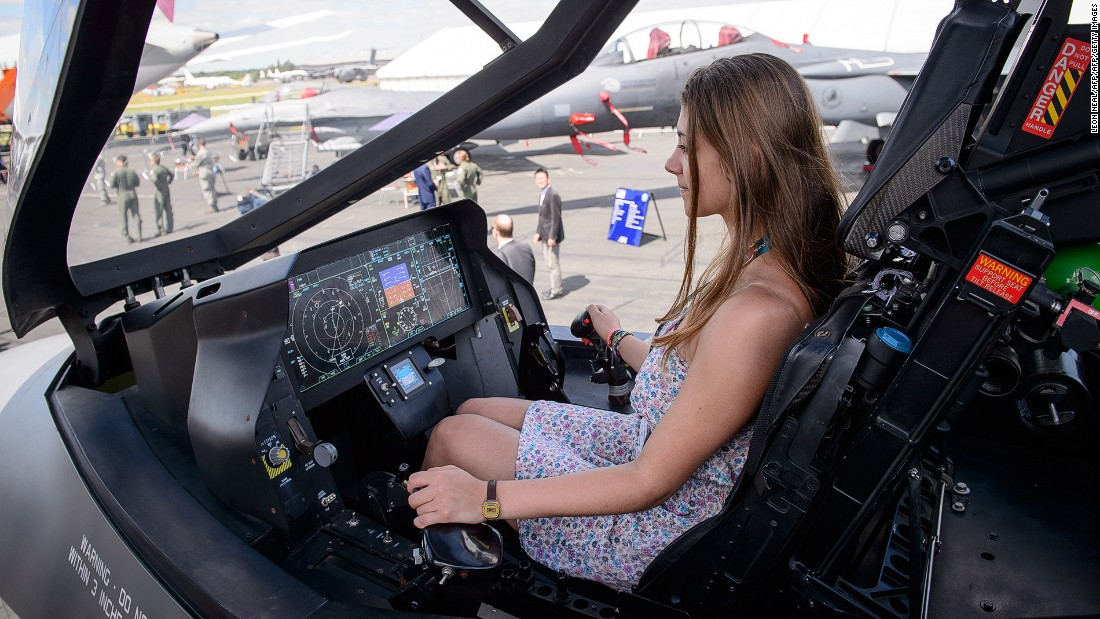 Visitors were allowed to sit in a mock-up of the Lockheed Martin F-35 Lightning II cockpit at the last Farnborough airshow in 2014.