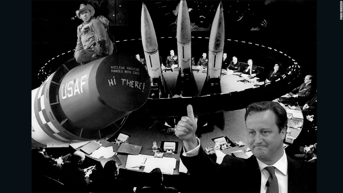 "Political collage artist Peter Kennard juxtaposes the war room in ""Dr. Strangelove"" with modern leaders still engaged in nuclear politics."
