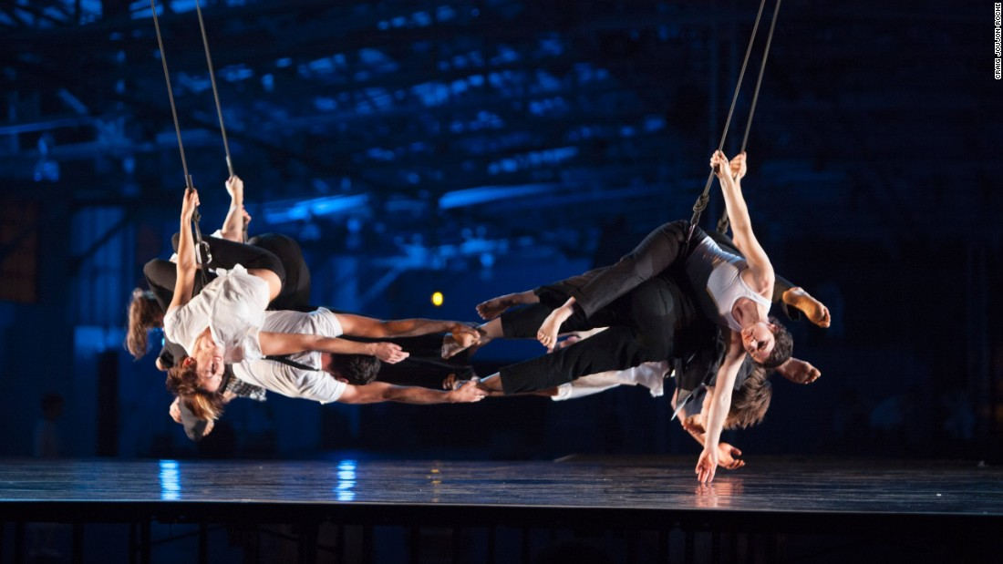 The company looks for opportunities to dance on buildings that in themselves are works of art. For example, they create routines that respond specifically to the architectural lines of buildings.