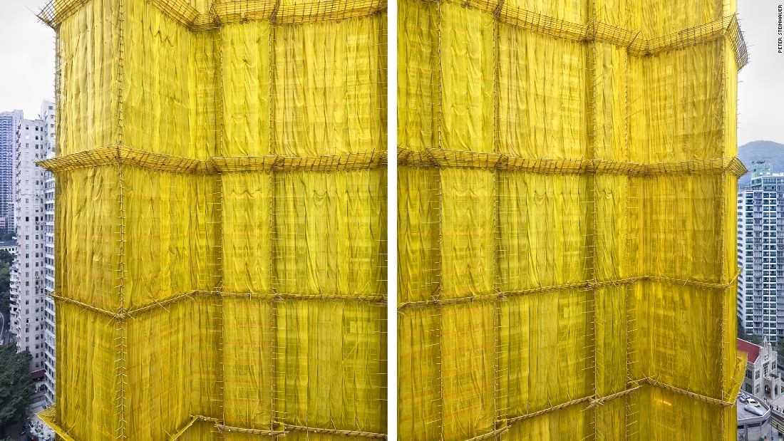 "U.S.-based photographer Peter Steinhauer was awestruck by Hong Kong's building ""cocoons,"" referring to the colorful exterior wrappings used in renovation work for the city's high-rise structures."