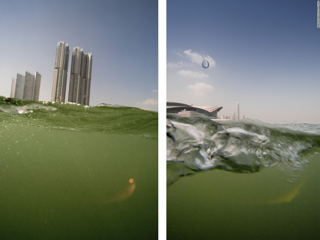 """Two dimensions define the image of Hong Kong: its vertical urbanity and its horizontal conformity to the water,"" says Germany-based show co-curator and photographer Andres Müller-Pohle. This series, taken half above and half below the water surface, aimed at ""bringing these two dimensions together."""