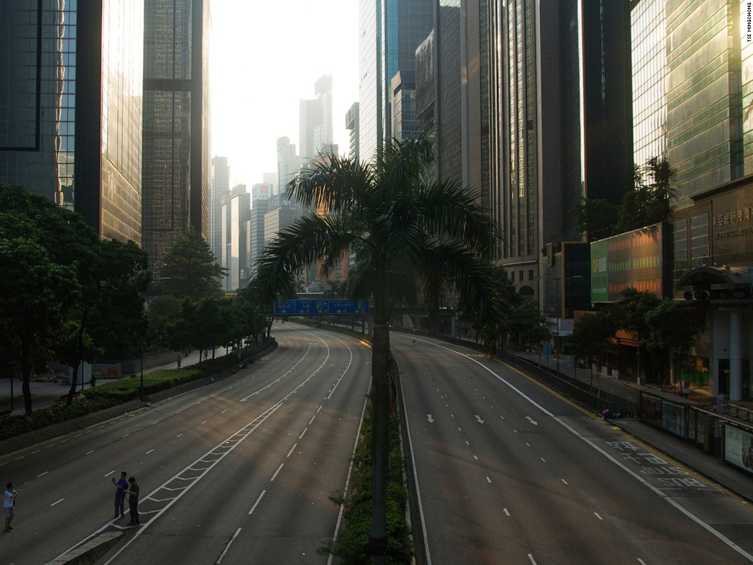 "Show co-curator and Hong Kong photographer Tse Mingchong documented the empty roads of downtown Hong Kong as they were blocked off by protesters the 2014 demonstrations. ""A viewer can construct their own story about what happened,"" he says."