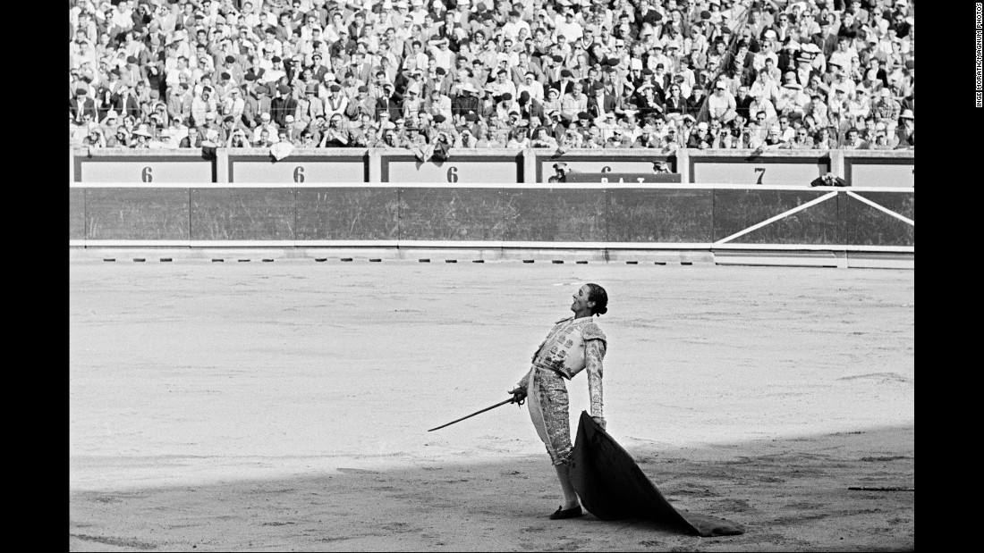 A bullfighter in action.