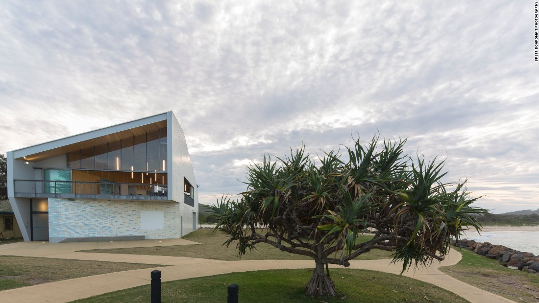 """A beachy, sparkly skin in soft pipi shell pastels wraps the building. Materials selection was critical due to its location 40 meters from breaking surf. The external walls are glazed brick and the membrane roof is clad in matching floor tiles. Internally the palette is deliberately raw -- concrete, concrete block, plywood, terrazzo,"" says Jones."
