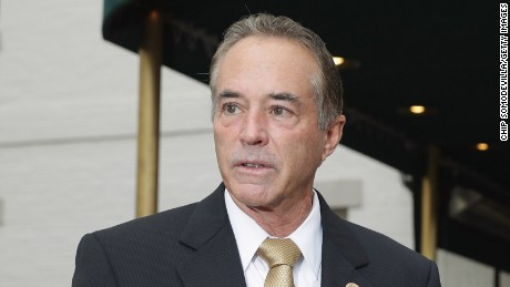 Rep. Chris Collins (R-NY) talks to reporters following a meeting with fellow members of Congress and representatives from the Donald Trump presidential campaign at the National Republican Club of Capitol Hill April 21, 2016 in Washington, DC.