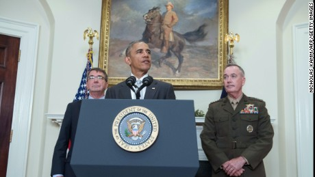 US President Barack Obama delivers a statement on Afghanistan with Defense Secretary Ashton Carter and the Chairman of the Joint Chiefs of Staff Gen. Joseph Dunford at the White House in Washington, DC, on July 6.
