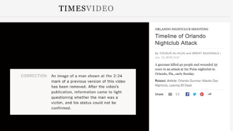 The New York Times removed the man's photo from a video about the Orlando shooting.