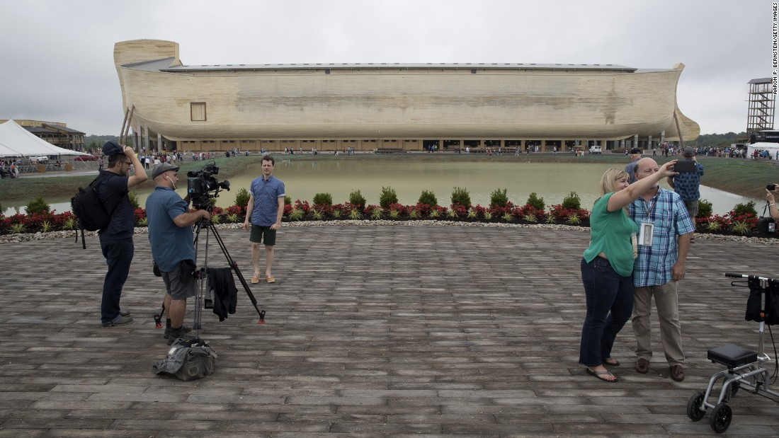 "People film themselves at the <a href=""https://arkencounter.com"" target=""_blank"">Ark Encounter,</a> a theme park in Williamstown, Kentucky, on Tuesday, July 5. The park, with its modern interpretation of Noah's Ark, opens to the public on Thursday, July 7."